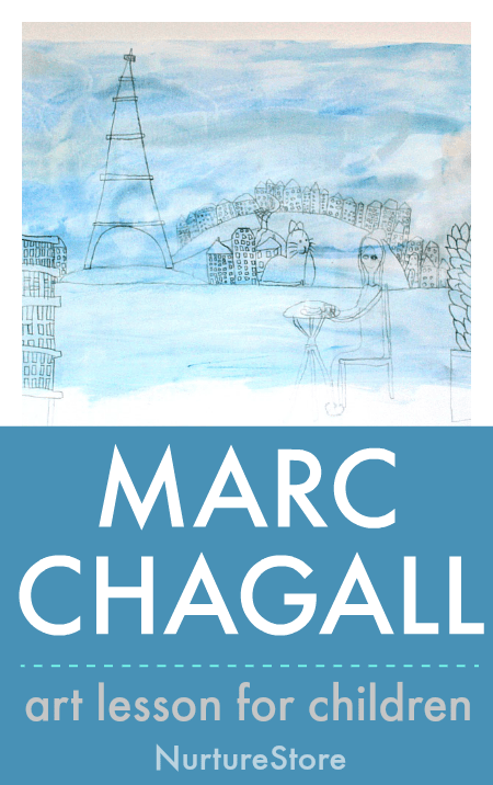 Marc Chagall art lesson for children, famous artist projects for kids, easy Chagall painting lesson for kids