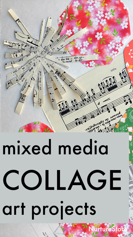 mixed media collage art projects for children, collage art lesson inspired by John Piper