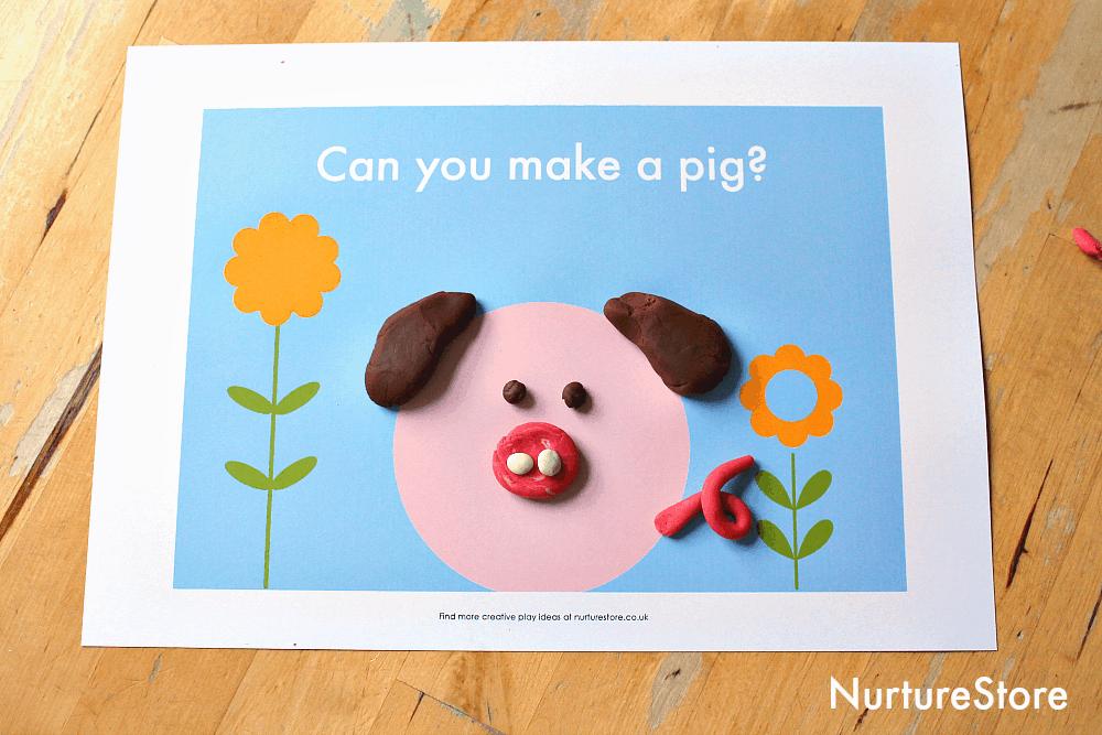 pig animal play dough mat