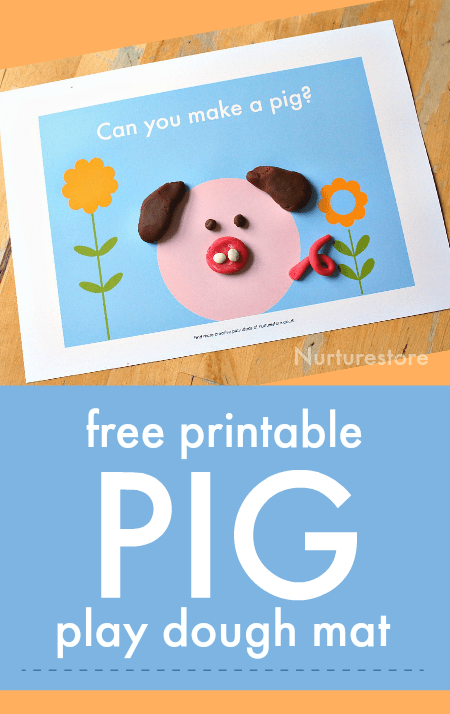 Free printable pig play dough mat, animal play dough printable. easy Chinese new year pig craft