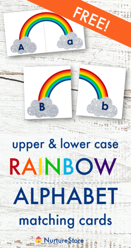 Rainbow alphabet free printable, printable upper and lower case matching game