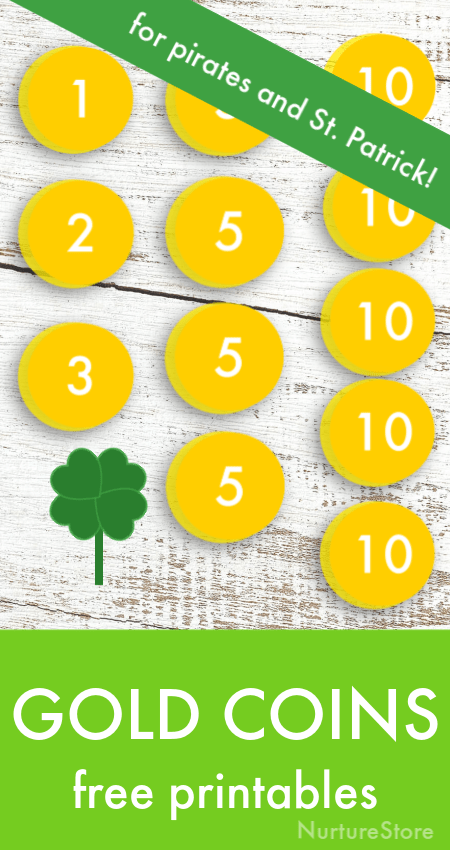 Gold coins printable for St. Patrick's Day math activities, pirate party printables, pirate math activity printable