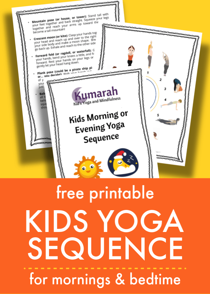 graphic regarding Yoga Poses for Kids Printable known as Very simple youngsters yoga series for the early morning or bedtime