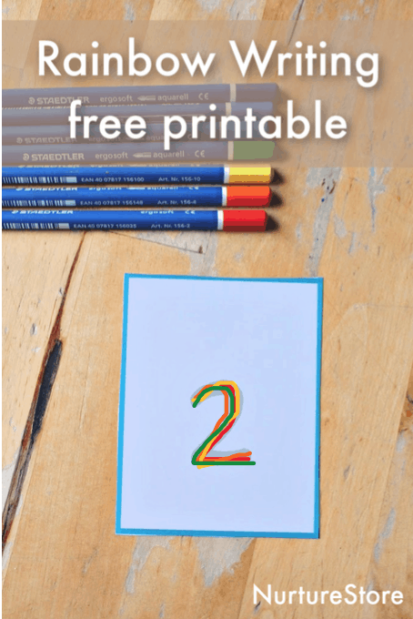 rainbow writing numbers printable, number writing practice activity, loose parts math number cards printable