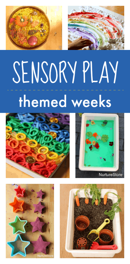 Sensory play themes, sensory play weeks