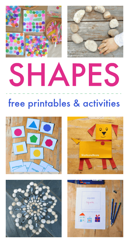 Shape activities, free shape printables, learning shapes