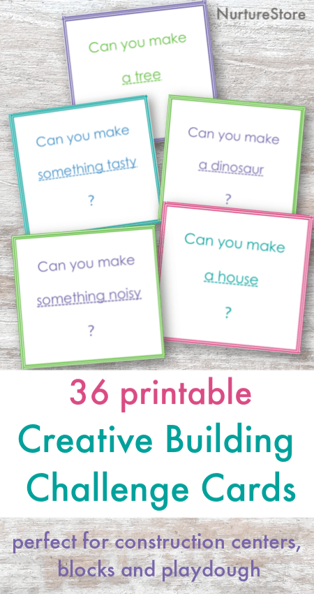 Printable building challenge cards, construction center activities, kids building challenge cards