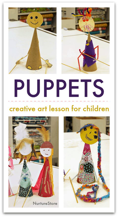 puppet making for children, how to make a puppet, simple rod puppets