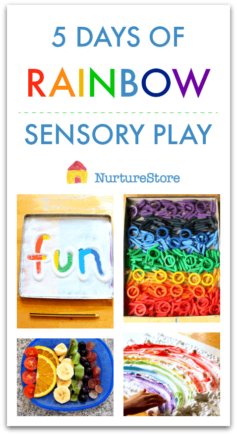 Rainbow week activities, rainbow sensory play