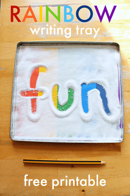 rainbow writing tray printable