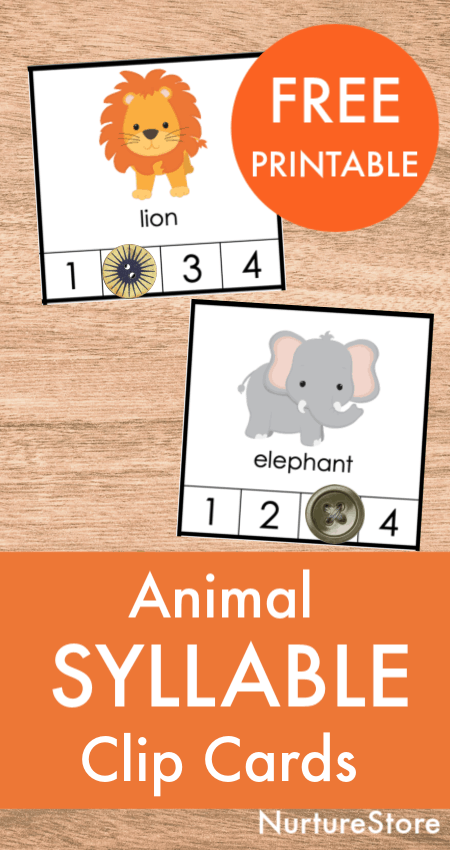 animal syllable clip cards printable free