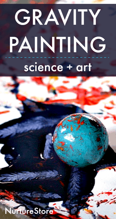 art and science lesson, painting with gravity art project