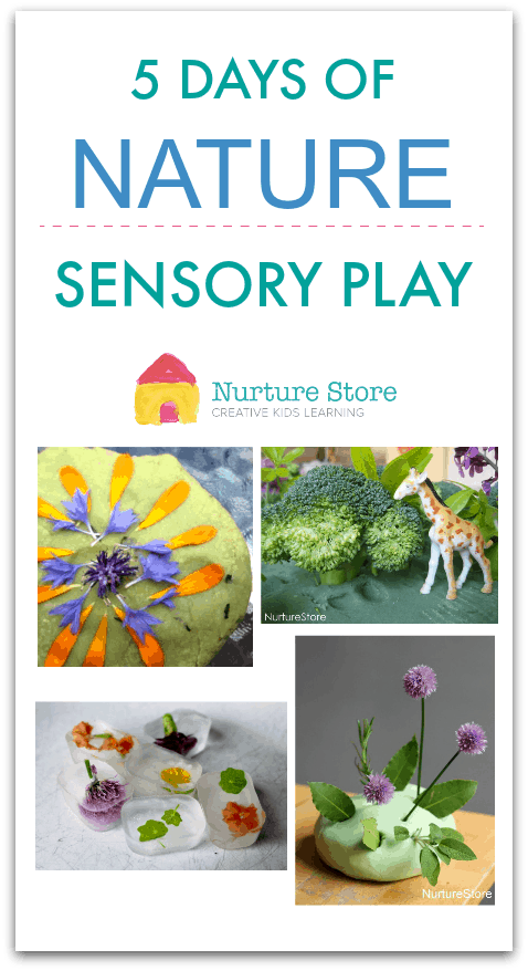 Nature themed sensory play, natural play materials