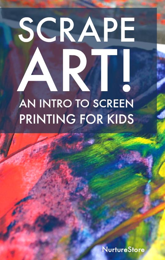 Scrape art, screen printing for kids, process art lesson idea