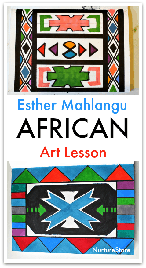 Esther Mahlangu African art lesson for children, African art project for kids, African craft