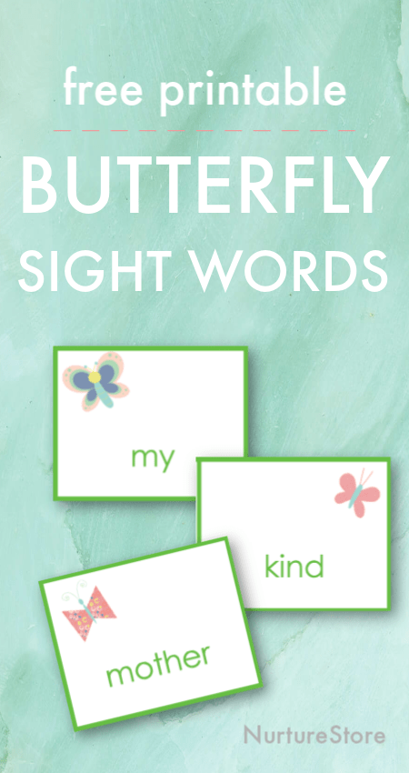 butterfly spring sight words printable, spring themed high frequency words printable