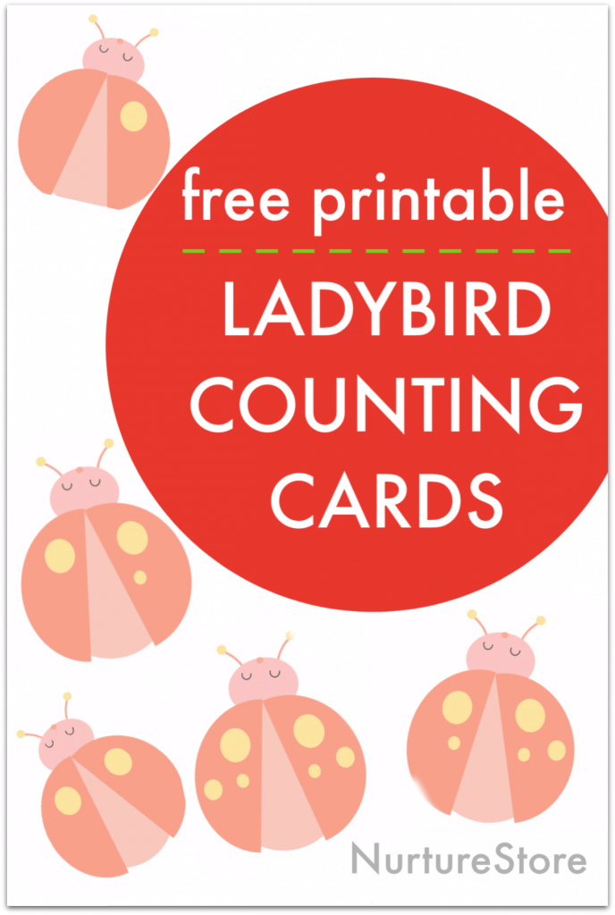 printable ladybird counting cards, ladybug math activity free printable