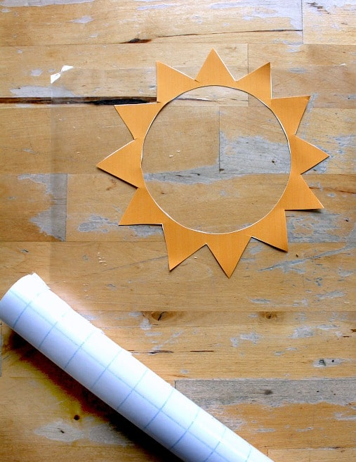photo about Printable Sun Template known as Sun sunlight catcher simple solstice craft - with sunlight template
