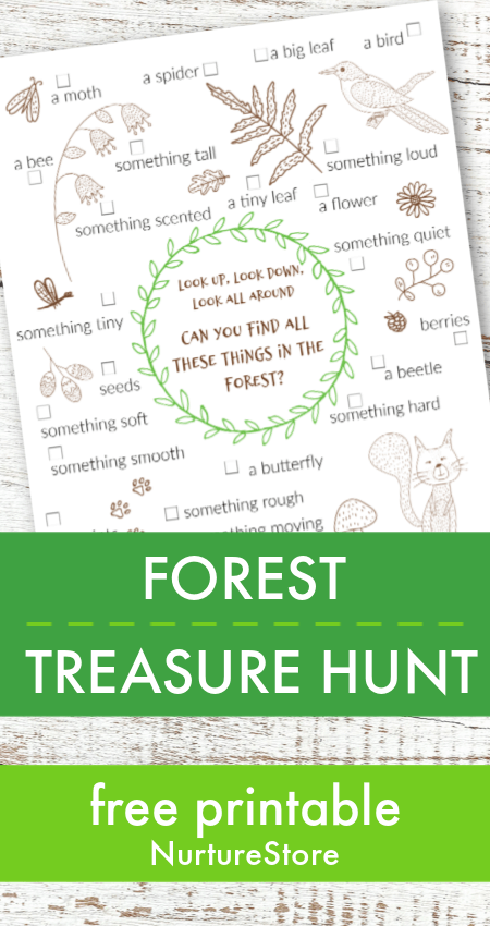 photo regarding Outdoor Scavenger Hunt Printable known as Forest treasure hunt printable for youngsters - NurtureStore