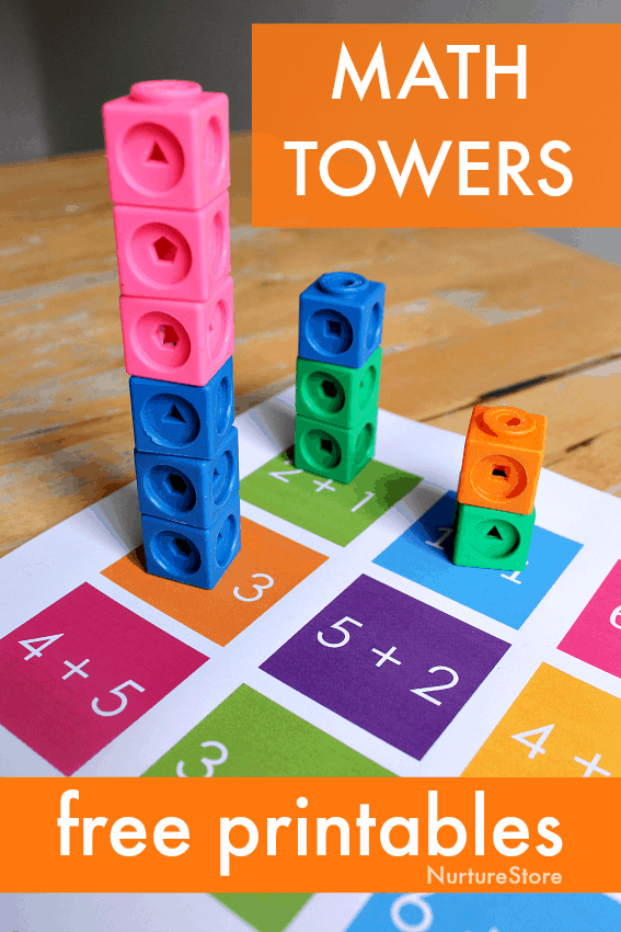 picture relating to Printable Addition Games named Math towers - gadget block addition game printables