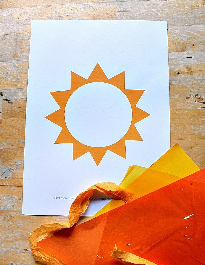 photograph relating to Sun Stencil Printable referred to as Solar sunlight catcher uncomplicated solstice craft - with solar template