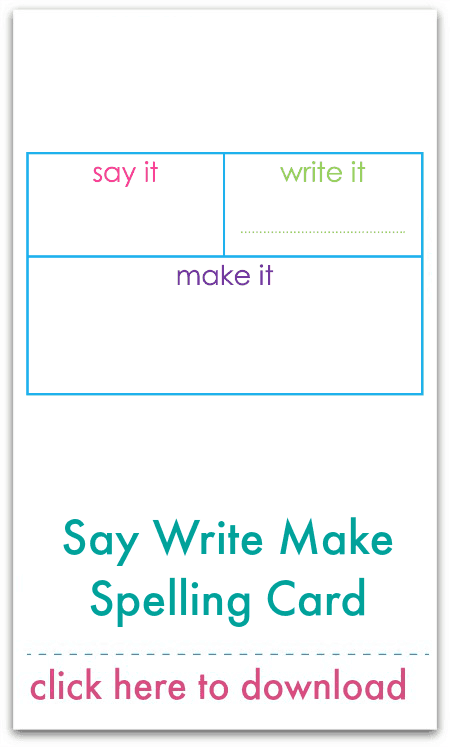 Say Write Make Spelling Card