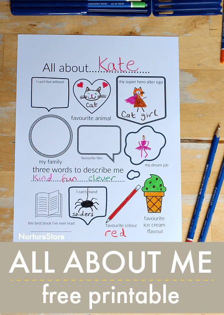 photograph regarding All About Me Page Printable identified as All Around Me printable magazine website page - NurtureStore
