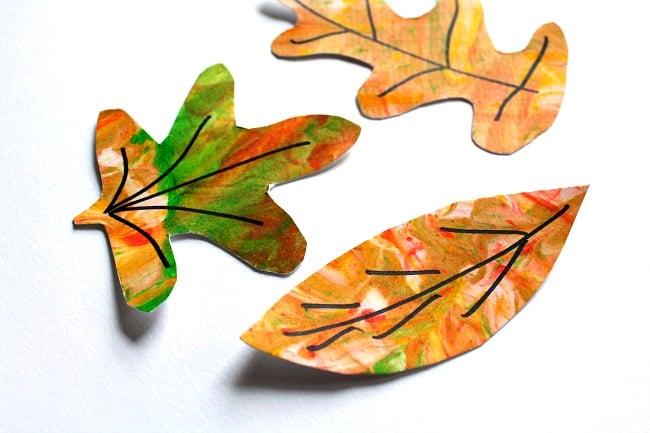 Fall leaf art lesson using easy marbling technique