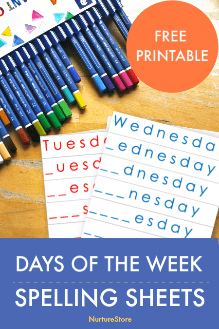 photo regarding Days of the Week Printable known as Times of the 7 days printable spelling sheets - NurtureStore