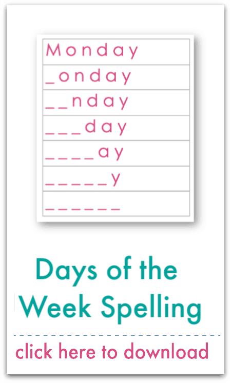 days of the week spelling