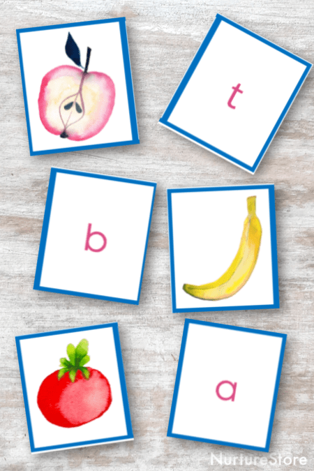 graphic regarding Matching Games for Toddlers Printable identified as Printable fruit and vegetable letter video game playing cards - NurtureStore
