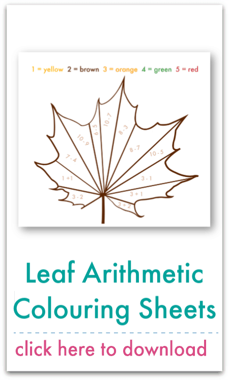 leaf arithmetic colouring sheets