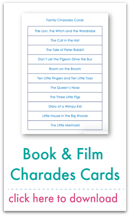 book & film charades cards