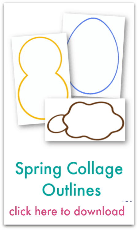 spring collage outlines