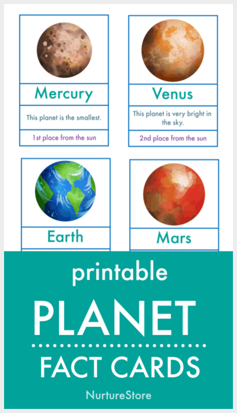 printable cards witht he key facts about the major planets in our solar system