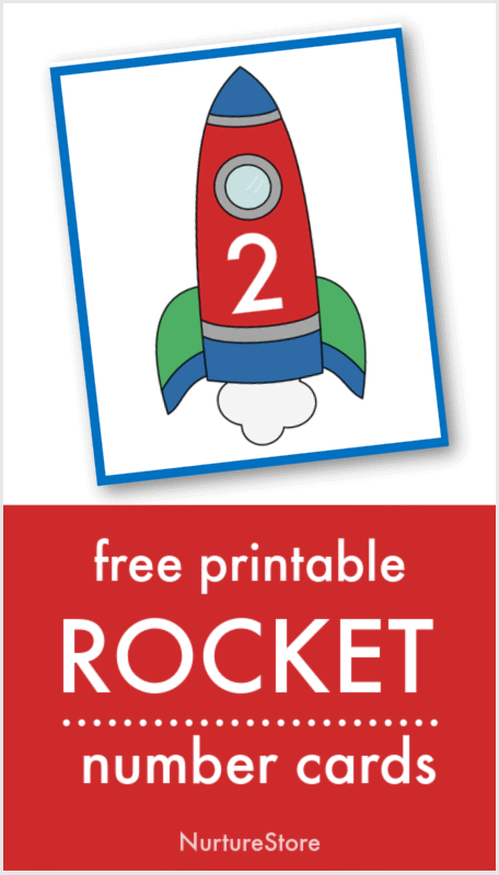 printable number cards with rockets on